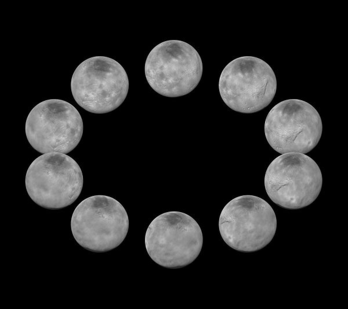 Фазы вращения Плутона и его спутника Харона
