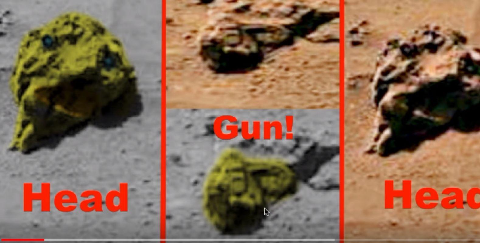 Уфолог уверен, что он нашёл на Марсе отрубленные головы пришельцев и пистолет, есть фото и видео