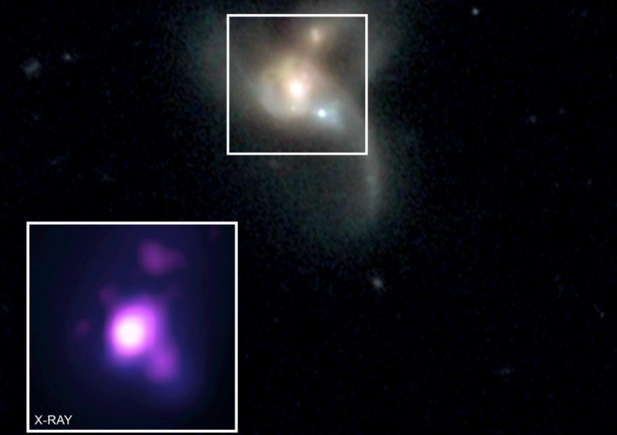 В миллиарде световых лет от нас сразу три галактики со сверхмассивными черными дырами в центре готовятся к слиянию