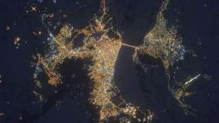 Вид из космоса на ночной Саратов