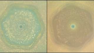 Зонд Кассини получил необычные снимки урагана на Сатурне