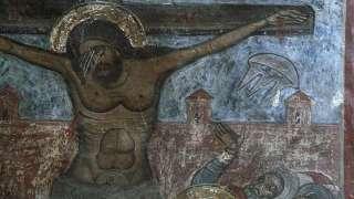 Уфологи заметили НЛО на древней фреске в храме в Грузии