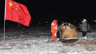 На севере КНР успешно приземлилась капсула китайского космического аппарата с образцами лунного грунта