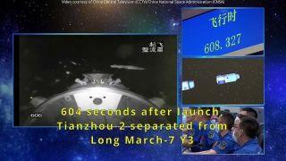 Китайский космический грузовик состыковался с базовым модулем орбитальной станции